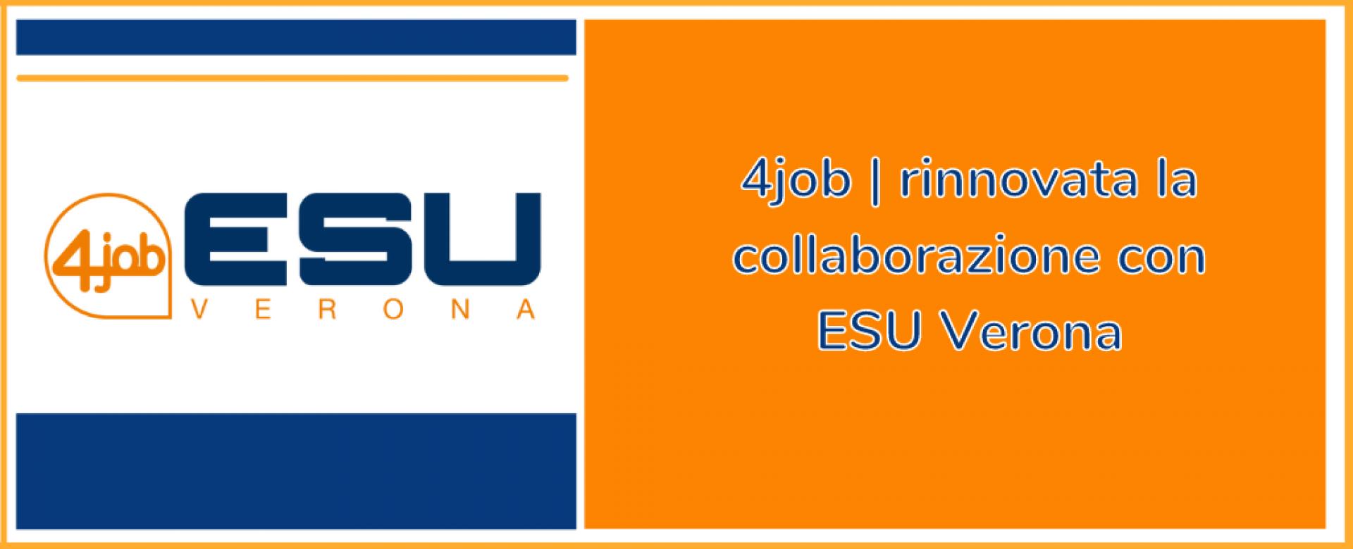 10.09.2021 - 4job | rinnovata la collaborazione con ESU Verona